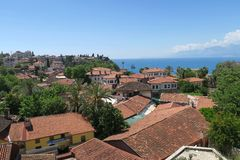 Antalyas Old Town Kaleici with its Famous Red Roofs, and the Mediteranian Ocean Stock Photo
