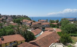 Antalyas Old Town Kaleici with its Famous Red Roofs, and the Mediteranian Ocean Stock Image