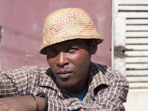 Man with straw hat, Africa royalty free stock images