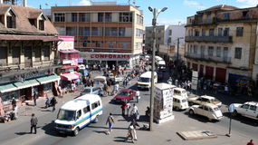 Antananarivo. Madagascar. Antananarivo, Madagascar: Traffic and people walking through the streets of Madagascar's capital Antananarivo Royalty Free Stock Photo