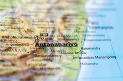 Antananarivo on map. Close up shot of Antananarivo. called Tananarive.and also known by its colonial shorthand form Tana, is the capital and largest city of Stock Photos