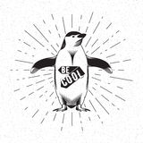 Antarctic bird emperor penguin, black silhouette on white background. Vector Stock Image