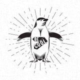 Antarctic bird emperor penguin, black silhouette on white background. Vector Stock Image