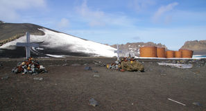 Antarctic crosses and fuel tanks- Deception Island Stock Images