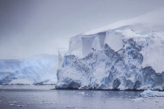 Antarctic Distant Icebergs Stock Images
