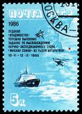 Antarctic Drift of \'Mikhail Somov\' serie, circa 1986. MOSCOW, RUSSIA - MAY 25, 2019: Postage stamp printed in Soviet Union (Russia) shows Antarctic Drift of \' royalty free stock photo
