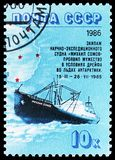 Antarctic Drift of \'Mikhail Somov\' serie, circa 1986. MOSCOW, RUSSIA - MAY 25, 2019: Postage stamp printed in Soviet Union (Russia) shows Antarctic Drift of \' royalty free stock image