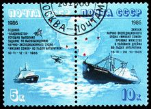Antarctic Drift of \'Mikhail Somov\' serie, circa 1986. MOSCOW, RUSSIA - MAY 25, 2019: Two postage stamps printed in Soviet Union (Russia) shows Antarctic Drift stock photos