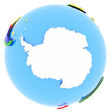 Antarctic on Earth. Antarctic on the globe in white, isolated on white background Royalty Free Stock Photo