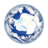 Antarctic on Earth isolated on white. Antarctic on planet Earth. 3D illustration with detailed planet surface isolated on white background. Elements of this Royalty Free Stock Photography