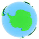 Antarctic on Earth. Antarctic, political map of the world in different shades of green Royalty Free Stock Image