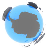 Antarctic on Earth. Antarctic standing out of blue planet in grey, isolated on white background Royalty Free Stock Photos