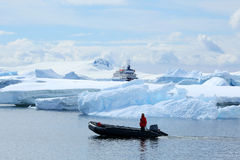 Antarctic expedition staff on the boat Royalty Free Stock Images
