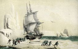 Antarctic exploration, XIX century illustration. Dumont d`Urville corvette Astrolabe directed to the magnetic South Pole trapped in pack ice,year 1838 Royalty Free Stock Photos