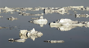 Antarctic fantasy. Landscape with reflecting ice floes Stock Photos