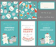 Antarctic friends for merry Christmas. Greeting card, seamless pattern, tag for use as poster, invitation for party and wrapping paper, polar bear,seal,penguin Royalty Free Stock Photography