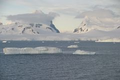 Antarctic Glacier, Mountains, and Icebergs Stock Photography