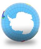 Antarctic on the globe. Isolated on white background Stock Photos