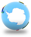 Antarctic on the globe. Antarctic on planet Earth isolated on white background Stock Images