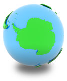 Antarctic on the globe. Antarctic, political map of the world in various shades of green Stock Image