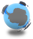 Antarctic on the globe. Antarctic standing out of blue Earth in grey,  on white background Royalty Free Stock Photo