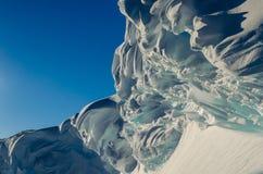 Antarctic Ice Cornice. Merangue like Snow Cornice on top of Antarctic Crevasse Stock Photo