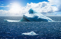 Antarctic ice island. With penguins  in atlantic ocean Royalty Free Stock Photo