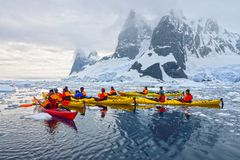 Antarctic Ice Kayaking Stock Photos