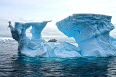 Antarctic Iceberg. Great blue colors and various shapes of icebergs in the Antarctic Stock Photo