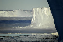 Antarctic icescape. With table icebergs in light and shadow Stock Photo