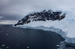 Antarctic Landscape. The seascape of antarctica backdropped with glaciers Royalty Free Stock Photos