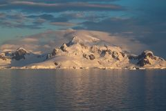 Antarctic Landscape. The seascape of antarctica backdropped with glaciers and mountains Royalty Free Stock Photo