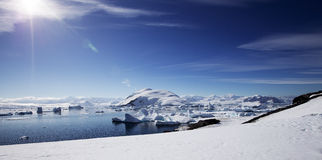 Antarctic Landscape. With gorgeous sun stock photo