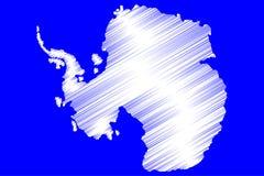 Antarctic map vector illustration,. Antarctic Royalty Free Stock Photography