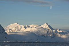 Antarctic mountains under the moonlight on a day. Stock Images