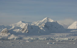 Antarctic mountains in winter. Royalty Free Stock Image
