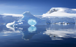 Antarctic. Nature and landscapes of Antarctic.Travel on the scientific vessel among ices. Studying of a phenomenon of global warming. Ices and icebergs of Stock Photography