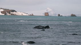 Antarctic Ocean with Vatnajokull glaciers in background. Antarctic Ocean. Strong wind blows waves. Vatnajokull glaciers in background stock video footage