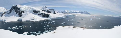 Antarctic panorama. With ocean and mountains royalty free stock photography