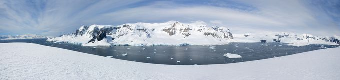 Antarctic panorama. With ocean and mountains royalty free stock photos