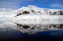 Antarctic peninsula and snowy mountains Stock Photos