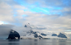 Antarctic peninsula and snowy mountains Royalty Free Stock Image