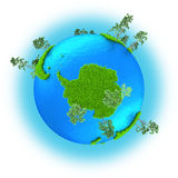 Antarctic on planet Earth. Antarctic on grassy planet Earth with trees  on white background Royalty Free Stock Images
