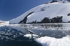 Antarctic reflections. Ice and mountains relfect in the still Lemaire Channel in Antarctica stock image