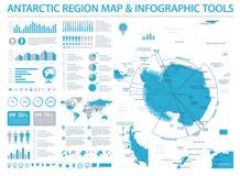 Antarctic region Map - Info Graphic Vector Illustration. Antarctic region Map - Detailed Info Graphic Vector Illustration Royalty Free Stock Photography