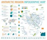 Antarctic region Map - Info Graphic Vector Illustration. Antarctic region Map - Detailed Info Graphic Vector Illustration Stock Photography