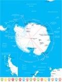 Antarctic region Map - Vector Illustration. Antarctic region Map - Detailed Vector Illustration Stock Photography