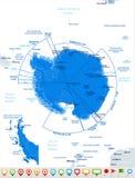 Antarctic region Map - Vector Illustration. Antarctic region Map - Detailed Vector Illustration Stock Photo