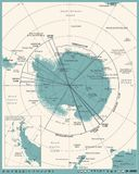 Antarctic region Map - Vintage Vector Illustration. Antarctic region Map - Vintage Detailed Vector Illustration Royalty Free Stock Images