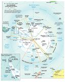 Antarctic region political divisions map. Area geographical location map on the globe Stock Photo